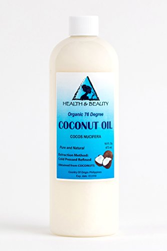 Coconut Oil 76 Degree Organic Carrier 100 Pure Cold Pressed 16 oz