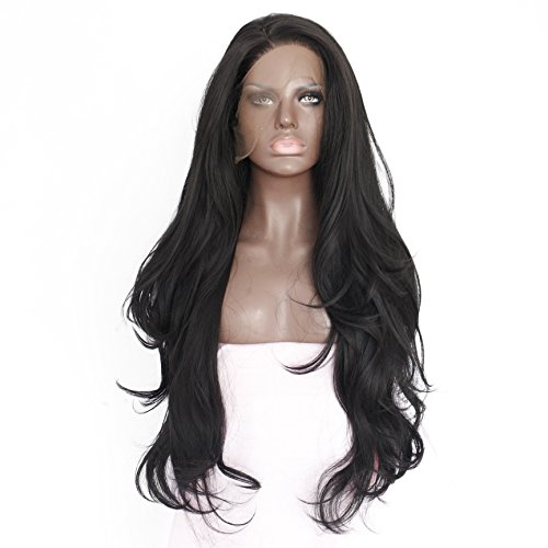 Generic Handmade Womens Long Curly Synthetic Hair Lace Front Wigs Heat Resistant 24 L Black