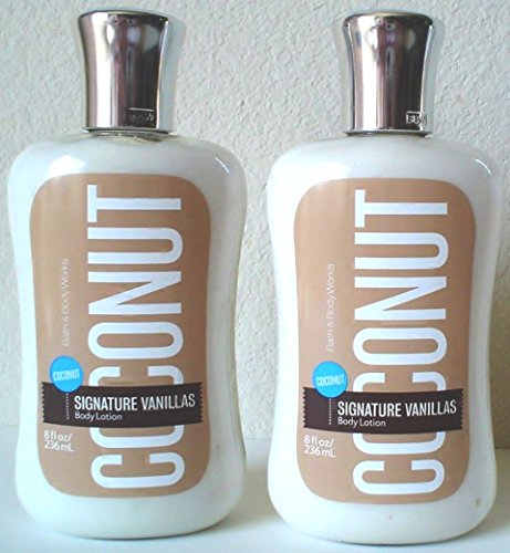 Bath and Body Works Signature Vanillas Body Lotion Coconut Pack of 2