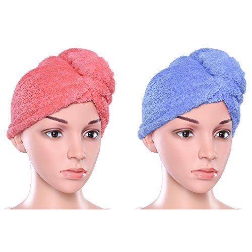 Uarter Hair Turban Towel Twist Wrap Fast Drying Absorbent Microfiber Dry Hair Cap for Bath Spa Makeup 234  98inch 2 Pack