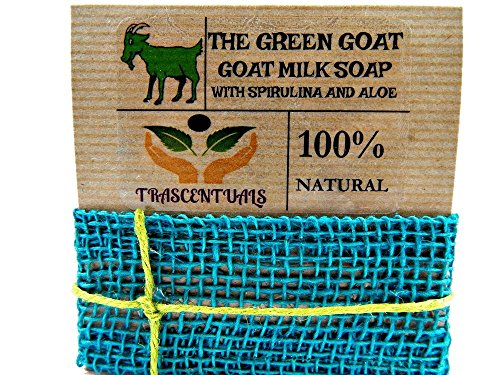 Aloe Vera Soap With Spirulina and Goat Milk Extra Moisturizing Bar for Face or Body Washing Helps with Acne Eczema or Psoriasis 1 ONE PACK