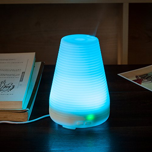 Essential Oil Diffuser DBF 100ml Aromatherapy Ultrasonic Cool Mist Air Humidifier with 7 Color LED Light  Adjustable Mist Mode  Waterless Auto Shut-off