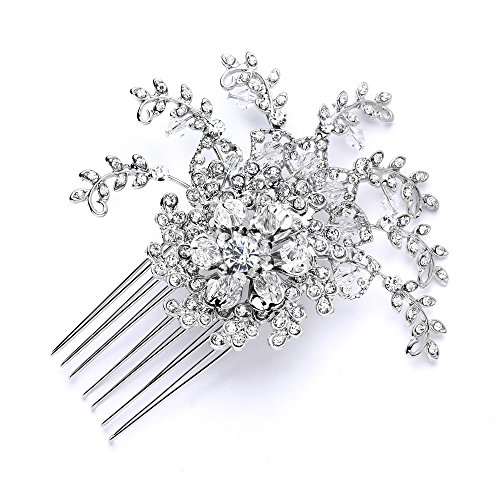 Mariell Silver Hair Comb for Bridal Prom or Bridesmaids - Chic Vintage Glamour