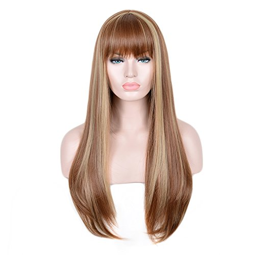 SiYi Fashion 24 Inch Long Straight Brown Mixed Blonde Wig Euramerican Afro Womens Daily Wigs Heat Resistant Synthetic Hair