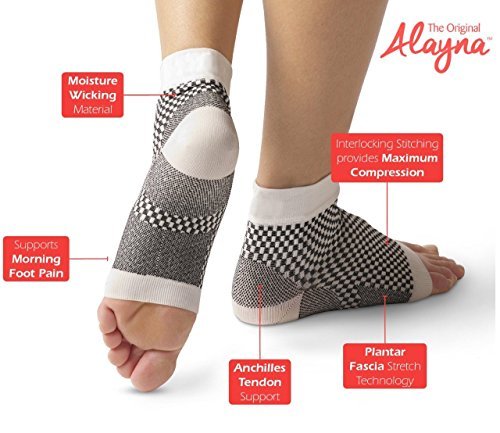 Compression Foot Sleeves - Relief From Foot Pain Swelling Edema - Improves Blood Circulation Provides Achilles Heel Plantar Fasciitis Arch Support - FDA Registered Ankle Socks by Alayna SM