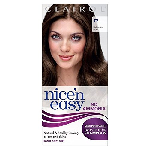 Nice n Easy No Ammonia Hair Dye Medium Ash Brown 77 PACK OF 4