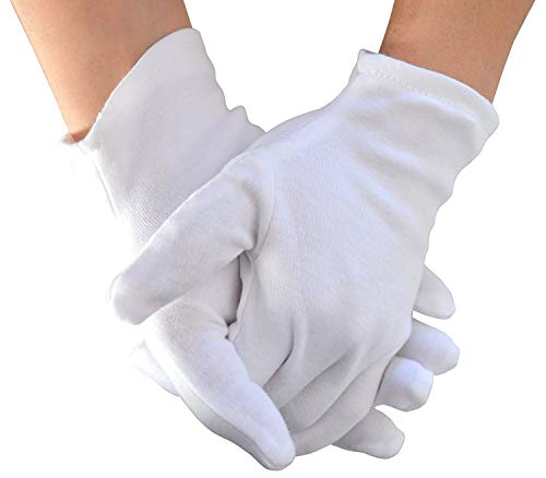 Yanaier 10 Pairs White Cotton Gloves Stretchable Lining Glove for Eczema Dry Skin Cosmetic Moisturizing Coin Jewelry Inspection Hand Spa Party Wearing