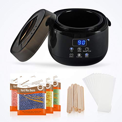 Wax Warmer kit wax heater Hair Removal Home Waxing Kit with LED Display Adjustable Temperature and Delay control Painlessly Removes Hair from Legs Face Body and Bikini Area