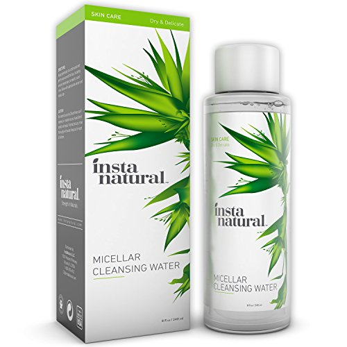 InstaNatural Micellar Water - Gentle Nonrinse Facial Cleansing Simple Makeup Remover - Natural Skin Care Solution for Sensitive Skin - Fast Daily Hydration - Great for Post Gym Use Travel - 8 OZ
