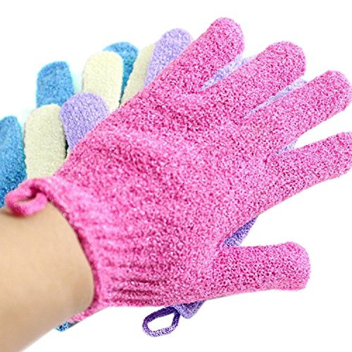 Moonmini 4 Pair Set Scrubbing Exfoliating Gloves ★ Double Side Durable Nylon Shower Gloves ★ Body Scrub Exfoliator for Men Women Kids ★ Bath Scrubber for Acne Dead Cell