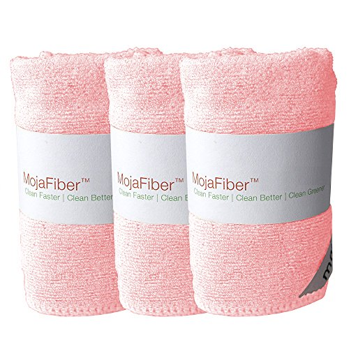 Plush Microfiber BodyFace Cloth - Dual Action exfoliatecleanse 3 Pk - 12x12- Soft Cleanse Side and Exfoliating Reverse Side - Remove Make up Dirt Oil Dead Skin Cells Pink