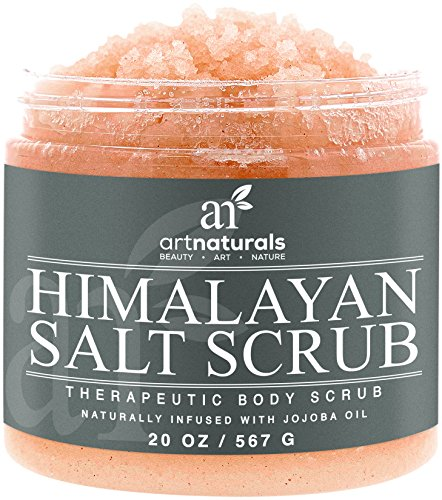 Art Naturals Himalayan Salt Body Scrub 20oz -Deep Cleansing Exfoliator With Shea Butter Dead Sea Salt Vitamin C Essential Oils - Moisturizes Nourishes Soothes Promotes Glowing Radiant Skin