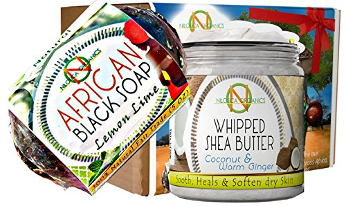 1 Whipped Body Butter - Organic Shea Butter Cream 8oz African Black Soap 5oz - BEAUTY GIFT SET - Acne Care Kit Bundle - Moisturizing Healing Eczema Luxurious Feel Improving Blemishes