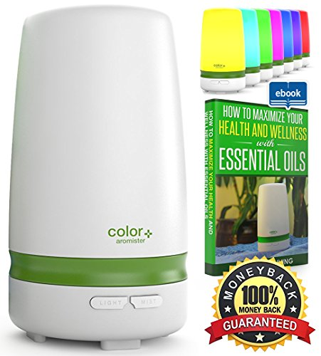 Essential Oil Mist Diffuser  Ultrasonic Air Purifier for Aromatherapy with 7 Mood Light Colors and Auto Power Shut-off by Arcadia Living 100ml