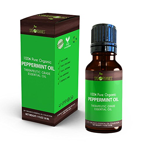 Best Peppermint Essential Oil By Sky Organics-100 Organic Pure Therapeutic Grade Peppermint Oil-For Diffusers Aromatherapy Massage Allergies Headaches -Aroma Scented Oil For Candles Bath 1oz