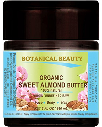 SWEET ALMOND OIL - BUTTER ORGANIC 100  Natural  VIRGIN  UNREFINED  RAW 8 Floz- 240 ml For Skin Hair and Nail Care