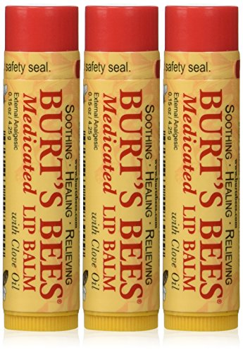 Burts Bees Burts Lip Care Medicated Lip Balm with Clove Oil 015 oz tube Lip Balms Pack of 3