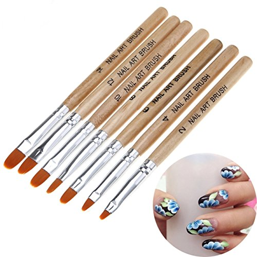 7 Pcs Acrylic Gel Polish Builder Extension Coating 3D Daisy Rose Flower Petal DIY Draw Pen Nail Brush Round Top Paint Set Art Professional Brushes Satisfaction Popular Manicure Toe Lacquer Kits
