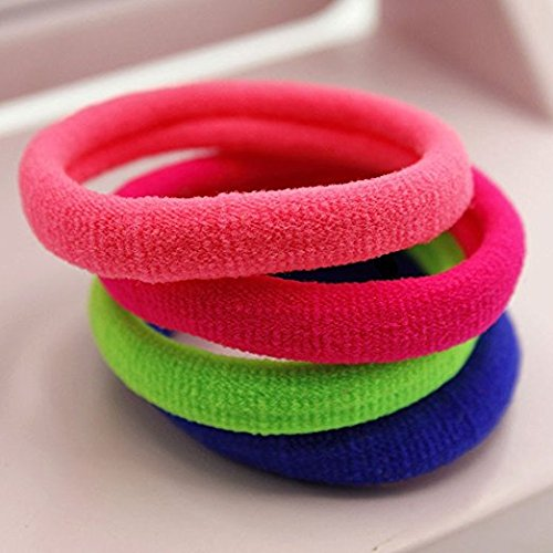 ZHHAN  98 PCS Seamless 43cm High Elastic Cotton stretch Hair Ties Bands Rope Ponytail Holders Headband Scrunchie Hair Accessories No Slipping Snagging Breaking or Stretching OutMixed Colors