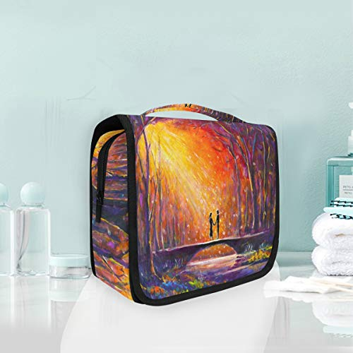 Lovers Bridge Forest Hanging Cosmetic Bag Flowing River Creek Sunshine Toiletry Brushes Case Travel Dopp Kit Makeup Boxes Brush Organizer For Women Men For Travel Portable Storage Bag with Zipper