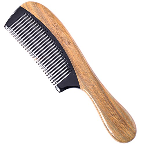 Breezelike Sandalwood Hair Comb - Anti Static Natural Hair Detangling Comb - Handmade Wooden Horn Comb with Premium Gift Box