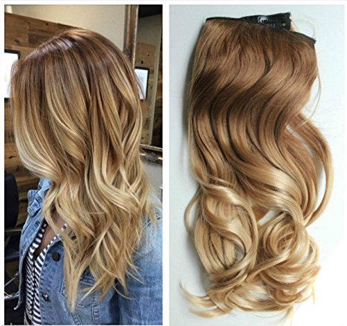 17 Inches 120grams Thick One Piece Half Head Wavy Curly Ombre Clip in Hair Extensions Col Light brownsandy blonde DL
