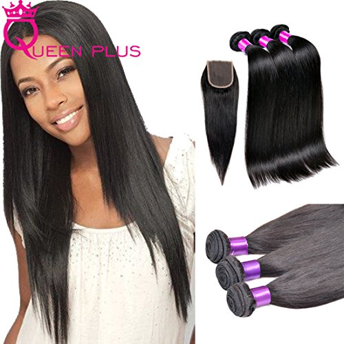 Queen Plus Hair 7a Unprocessed Brazilian Virgin Human Hair Silky Straight Weave Hair Extensions 3 bundles Mixed Length with Free Part 4×4 Top Lace Closure12 14 16 with 10 Inch