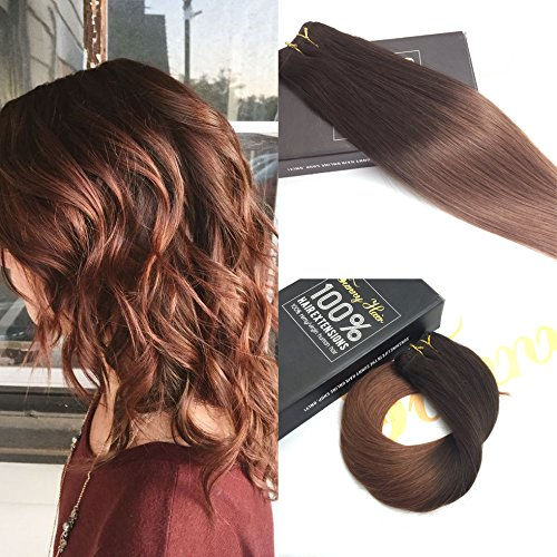 Sunny 22inch Hair Weft Human Hair Extensions Ombre Bundles 2 Brown Ombre 33 Auburn Brazilian Natural Straight Human Hair Weft Bundles 100G One Pack