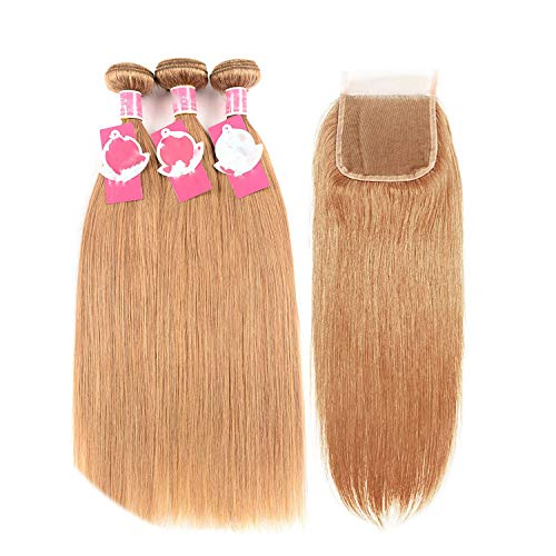 Blonde Human Hair Bundles With Closure 27 Brazilian Straight Hair Weave 3 Bundles 10-24inch Remy Hair Extensions20 20 20 Closure18Free Part