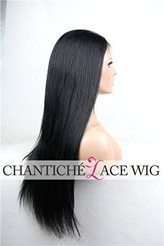 Chantiche Silky Straight Silk Top Lace Front Wig For African Americans Brazilian Remy Human Hair Full Wigs With Baby Hair 130 Density Medium Brown Lace 22 Inch 1B