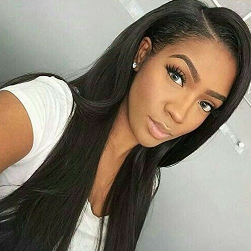 Prime Kitty 150 Density Yaki Straight Human Hair Lace Front Wigs For Black Women Glueless Brazilian Remy Light Yaki Human Hair Front Lace Wig With Baby Hair 22 Natural Color