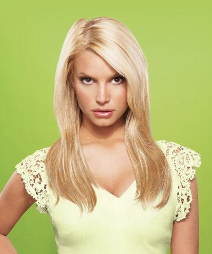 hairdo from Jessica Simpson and Ken Paves 22 Vibralite Synthetic Clip-In Extension Straight Buttered Toast