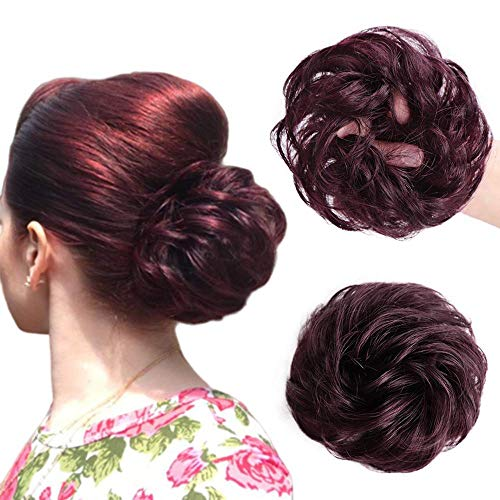 Stamped Glorious 2PCS Real Hair Ponytail Extension Messy Bun Scrunchy for Hair Elastic Messy Bun Hair Extensions Buns