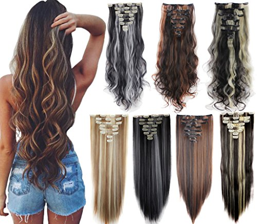3-5 Days Delivery 8PCS 24-26 inches Highlight Straight Wavy Curly Full Head Clip in Hair Extensions 18Clips Women Lady Hairpiece