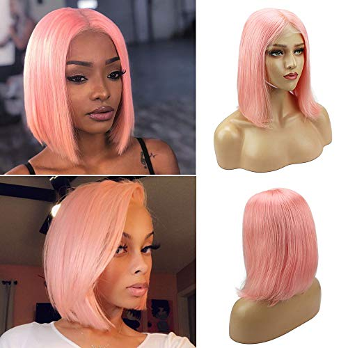 Pink Short Bob Wig 13x4 Lace Front Wigs Human Hair Middle Part Straight Brazilian Virgin Bob Wigs Glueless Lace Swiss 10 180 Density Bleached Knots for Black Woman