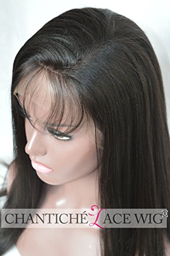 Chantiche Best Yaki Straight Lace Front Wigs with Baby Hair 100 Indian Remy Human Hair Wig for Black Women 130 Density Medium Brown Lace 12inch 1B