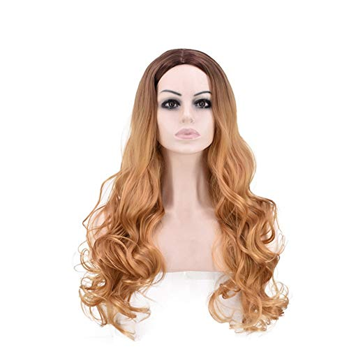 Lorachun Beauty Hair Wig For Women Long Curly Hair Black Hair Root Brown Color Wig Color  Blonde