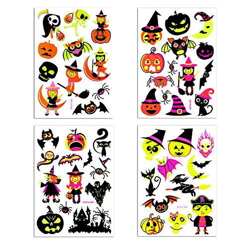 Temporary Tattoos Halloween Makeup for Boys and Girls Fluorescent WitchPumpkinGost and Bat Tattoos s Glow in the Dark Get fun on Halloween
