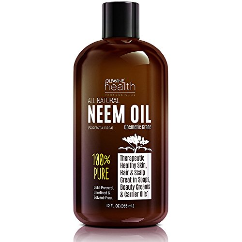 Neem Oil Organic Wild Crafted Pure Cold Pressed Unrefined Cosmetic Grade 12 oz for Skincare Hair Care and Natural Bug Repellent by Oleavine