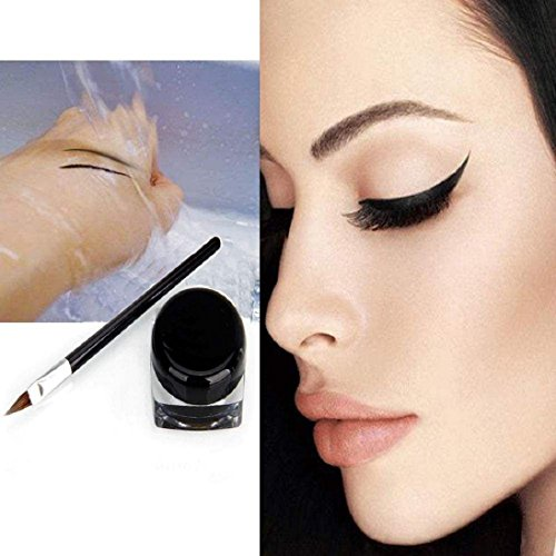 AutumnFall Mini Eyeliner Gel Cream With Brush Makeup Cosmetic Black Waterproof Eye Liner