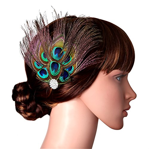 BABEYOND Peacock Feather Hair Clip Flower Pin with Rhinestones