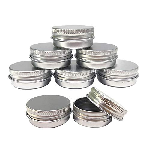 Aluminum Tin Jars Cosmetic Sample Metal Tins Empty Container Bulk Round Pot Screw Cap Lid Small Ounce for Candle Lip Balm Salve Make Up Eye Shadow Powder 12 Pack 5 Oz15ml