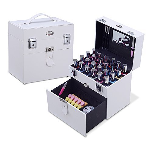 MUA LIMITED Nail Accessories Manicure Case Storage Box and Organiser Nail Polish Travel Case with Drawer White by MUA Limited