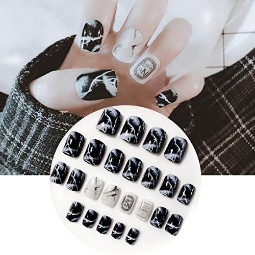 24pcs Smooth Black White Marble False Nails Natural Texture Detachable Full Cover Fake Nail Tips Sticker Press On Nails DIY Nail Art Manicure Products L52