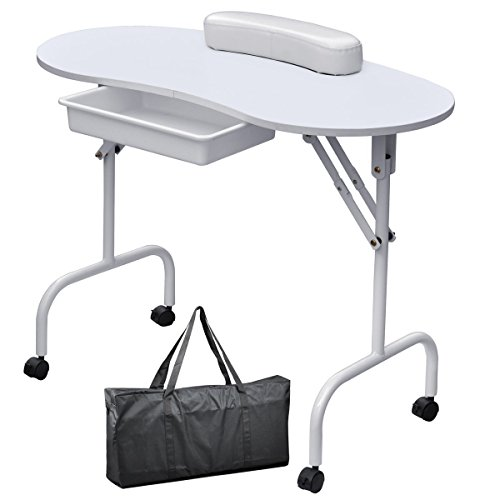 Ogima Foldable Manicure Table Nail Technician Desk Workstation with Bag
