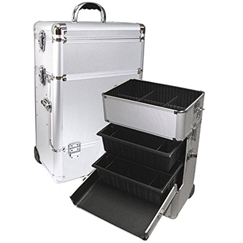 Silver Professional Rolling Makeup Case with Trays Style No TS-87