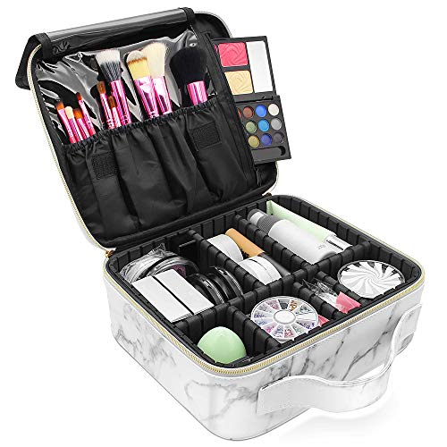 Marble Makeup Organizers and StorageLKE Cosmetic Bags Waterproof Marble Travel Makeup Train Case Jewelry Travel Organizer with Adjustable Dividers 98x886x37 inches