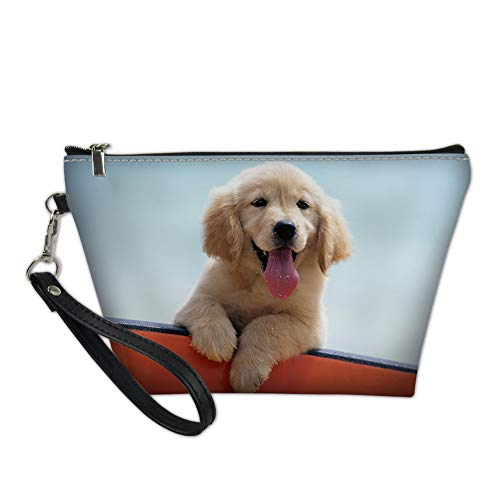 Freewander Cute Cosmetic Case Leather Handbag Golden Retriever Purse Makeup Organizer Travel Case for Women Toiletry Organizer