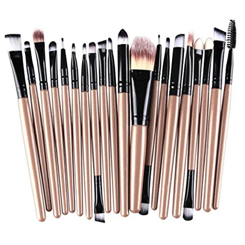 CINEEN 20PCS Makeup Brush Set Face Powder Lip Brusher Gold  Black