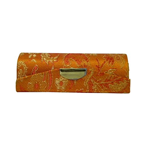 Orange Lipstick Case with Brocade Design